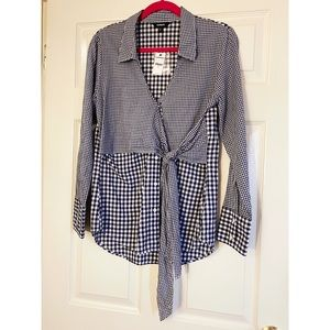 Express Blue Gingham Wrap Tie Button-down Shirt